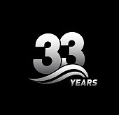 33 Years Anniversary with swoosh Celebration Design logo
