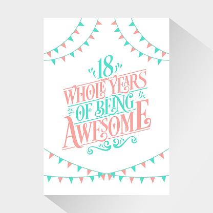 18 Years Birthday and 18 years Anniversary Celebration Typo