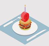 9 years birthday burger. Hamburger and candle isometrics. Number