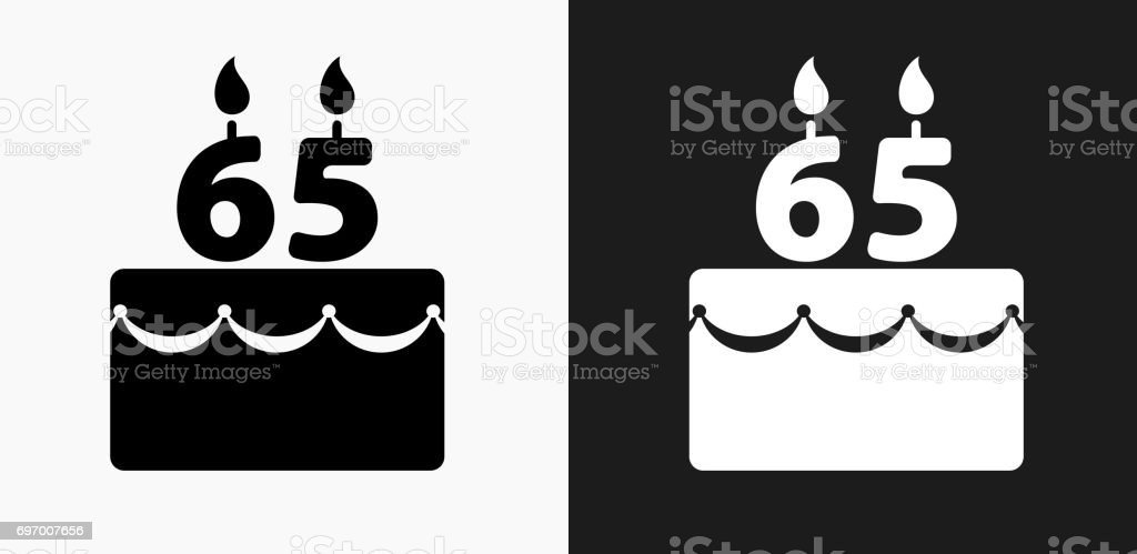Icône de gâteau anniversaire 65 ans sur fond de Vector noir et blanc - Illustration vectorielle