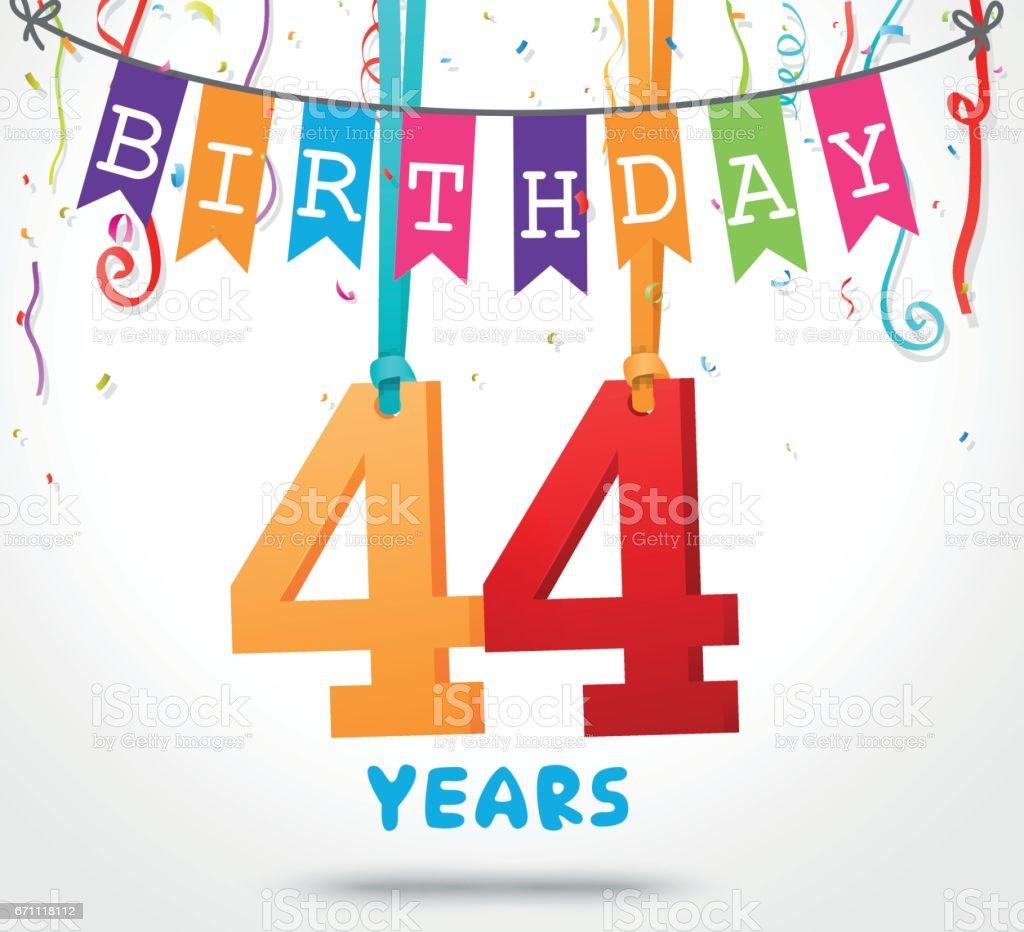 44 Jahre Geburtstag Grußkarte Design Stock Vektor Art und