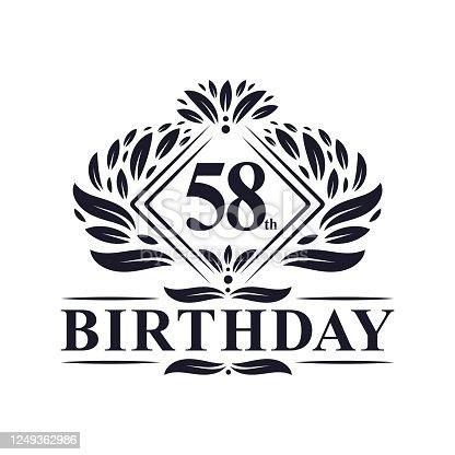 58 years Birthday Logo, Luxury 58th Birthday Celebration.
