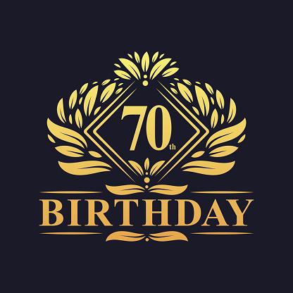 70 years Birthday Logo, Luxury Golden 70th Birthday Celebration.
