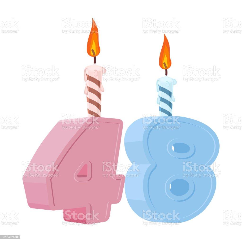48 Jaar Verjaardag Nummer Met Feestelijke Kaars Voor De Cake Van De
