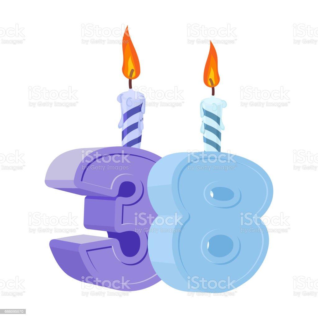 38 Jahre Geburtstag. Anzahl Mit Festliche Kerze Für Urlaub Kuchen. Drei  Jahre Lizenzfreies Vektor