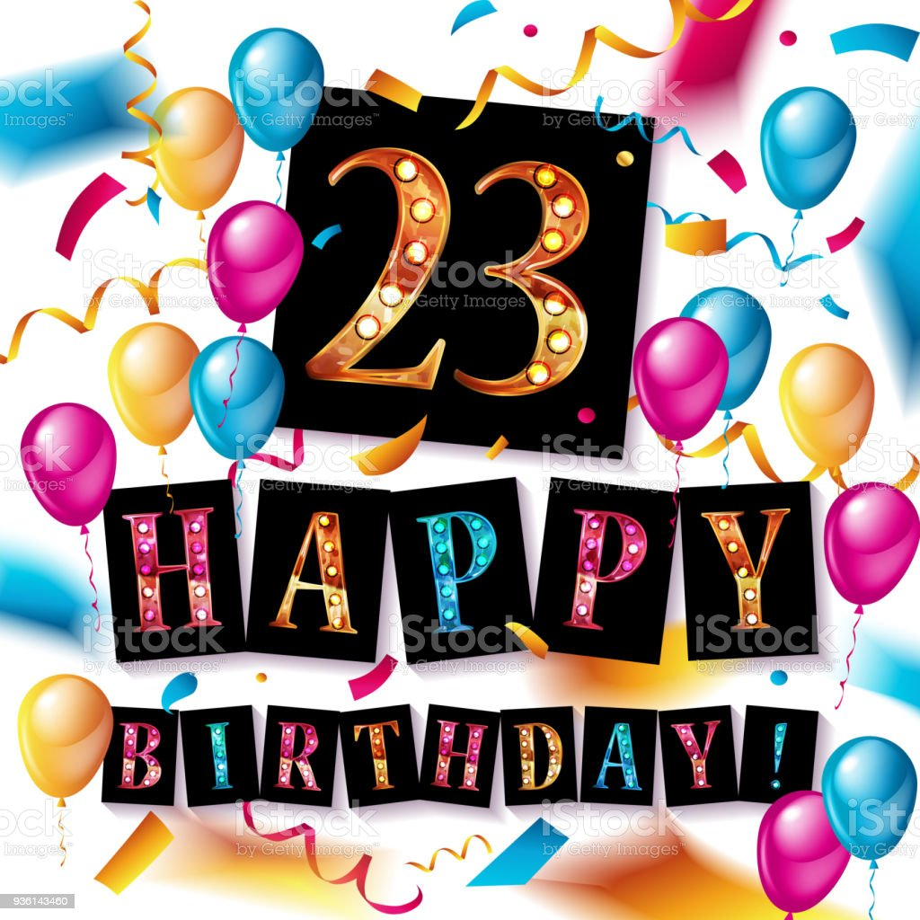 Celebration De 23 Ans Carte De Voeux Joyeux Anniversaire Cliparts