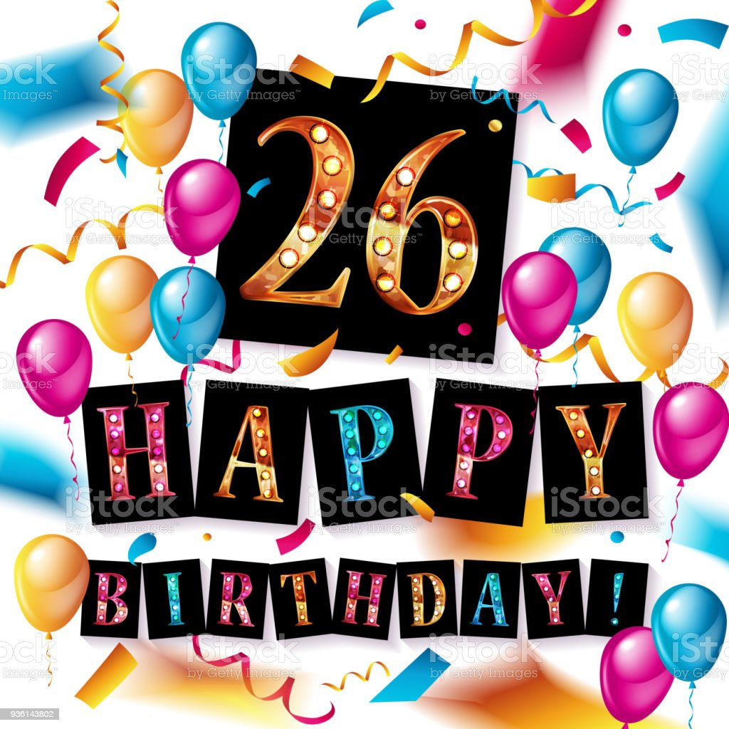 Celebration De 26 Ans Carte De Voeux Joyeux Anniversaire Cliparts