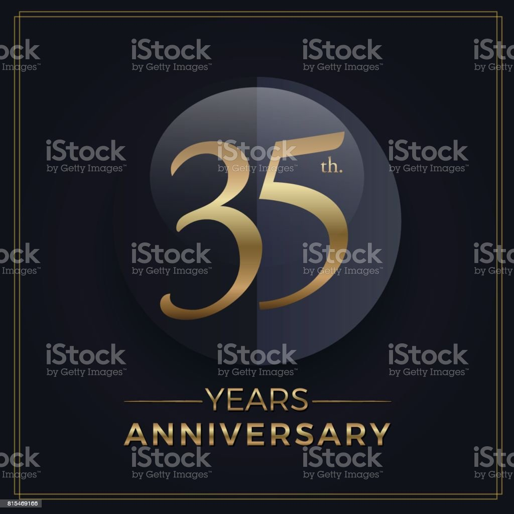 35 years gold and black anniversary celebration simple emblem template on dark background vector art illustration