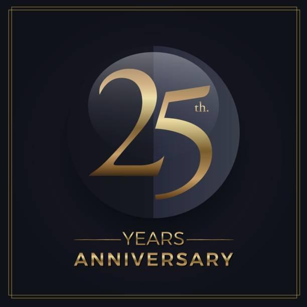 ilustrações, clipart, desenhos animados e ícones de 25 anos ouro e preto modelo de simples emblema de comemoração de aniversário em fundo escuro - 25 30 anos