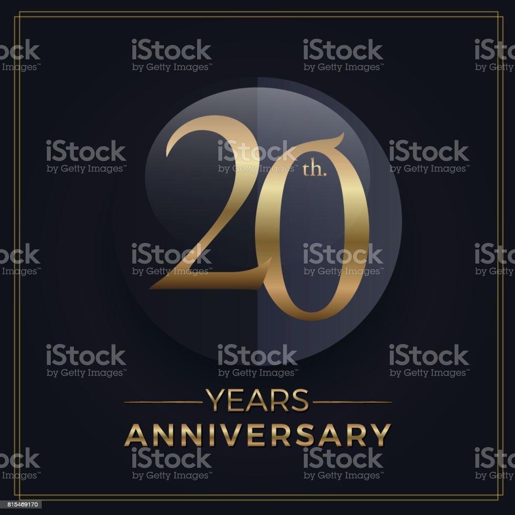 20 Jahre Gold und schwarz Jahrestag Feier einfach Emblem Vorlage auf dunklem Hintergrund – Vektorgrafik