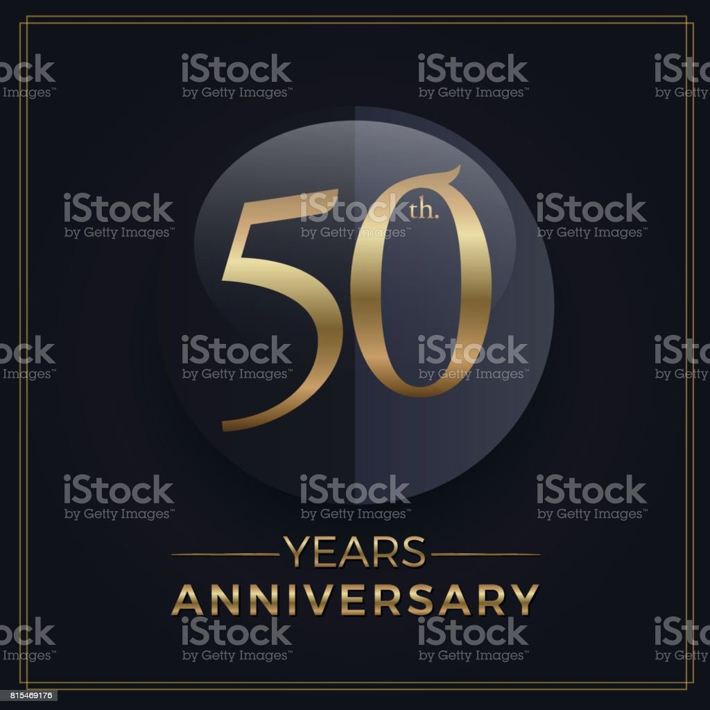 50 years gold and black anniversary celebration simple emblem template on dark background vector art illustration