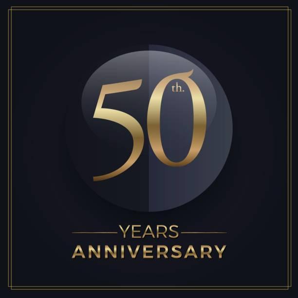 50 anos ouro e preto modelo de simples emblema de comemoração de aniversário em fundo escuro - ilustração de arte em vetor