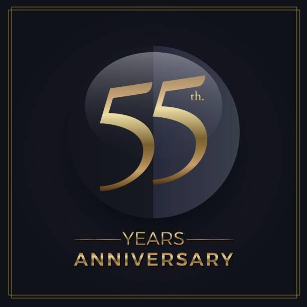 bildbanksillustrationer, clip art samt tecknat material och ikoner med 55 år guld och svart anniversary celebration enkel emblem mall på mörk bakgrund - 55 59 år