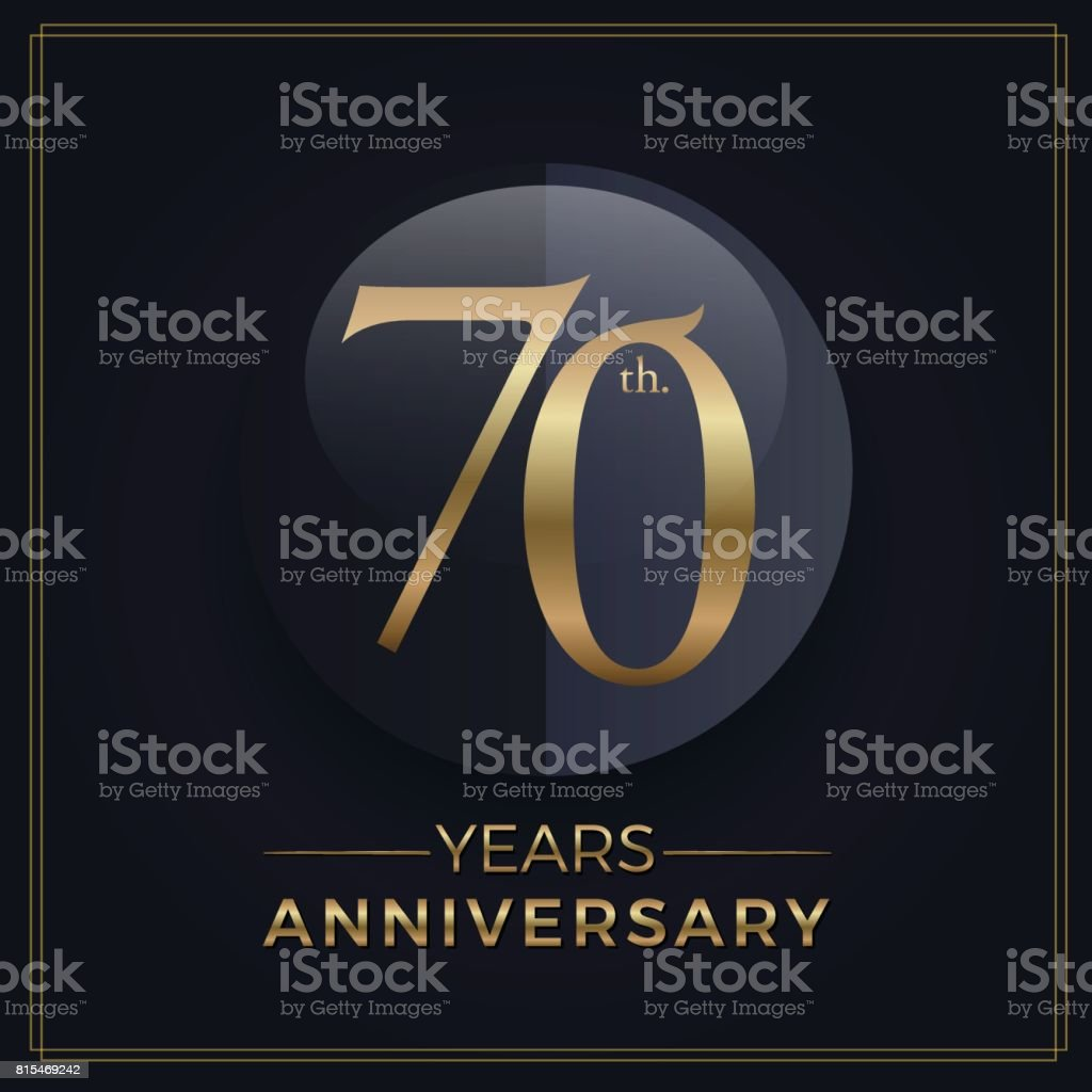 70 years gold and black anniversary celebration simple emblem template on dark background vector art illustration