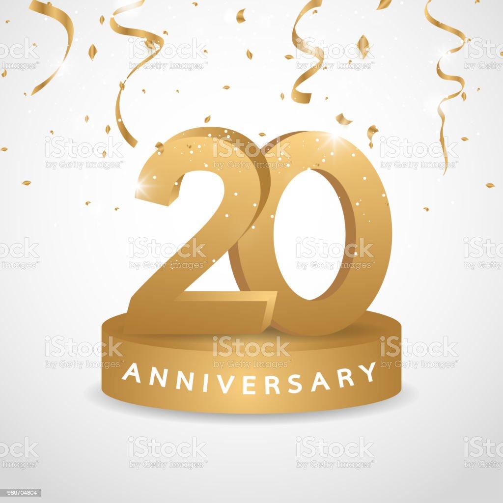 Logo Anniversaire Dor De 20 Ans Avec Des Confettis Or Symbole De