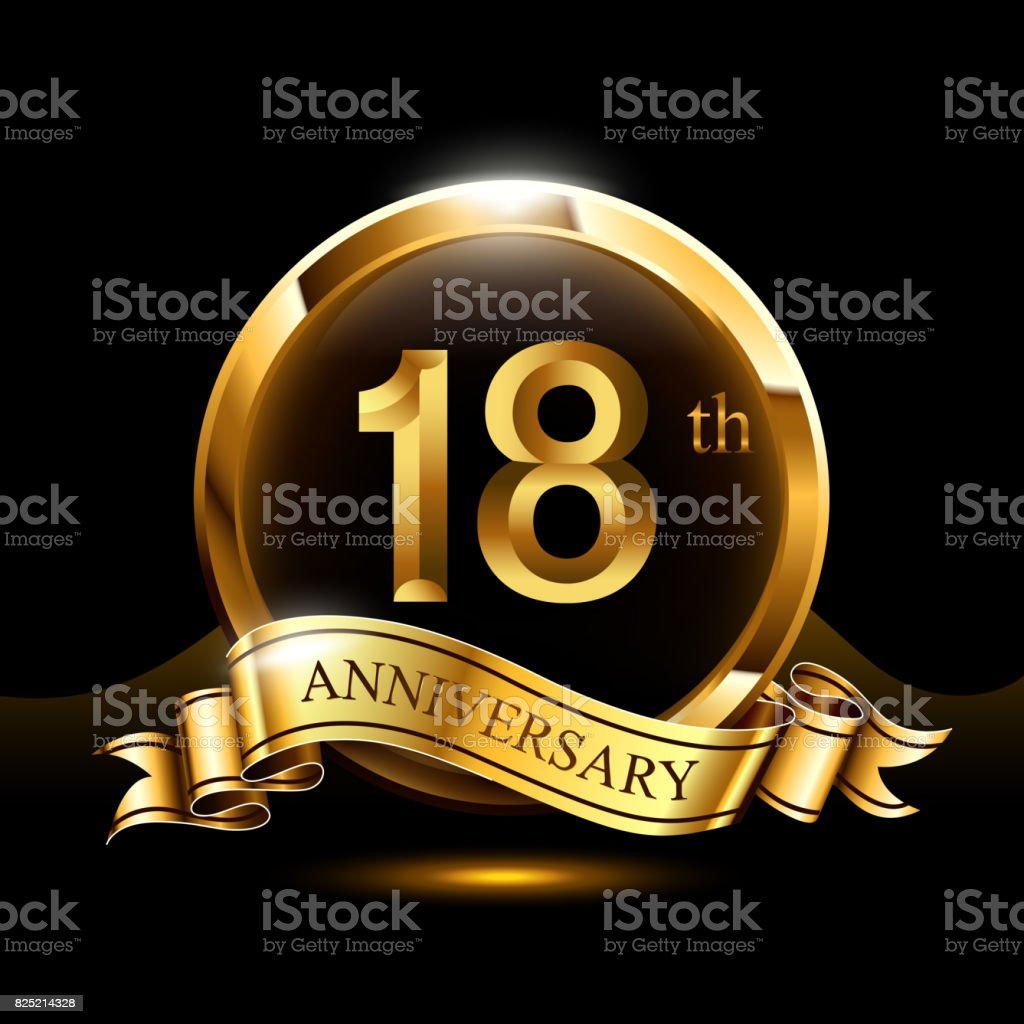18 years golden anniversary design celebration with ring and ribbon. vector art illustration