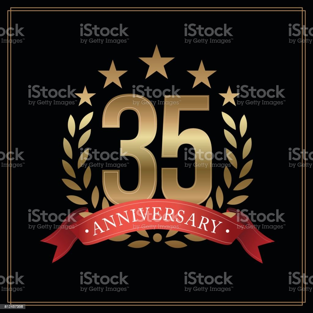 35 years golden anniversary icon, with star, red ribbon, and  laurel wreath isolated on black background, vector design vector art illustration