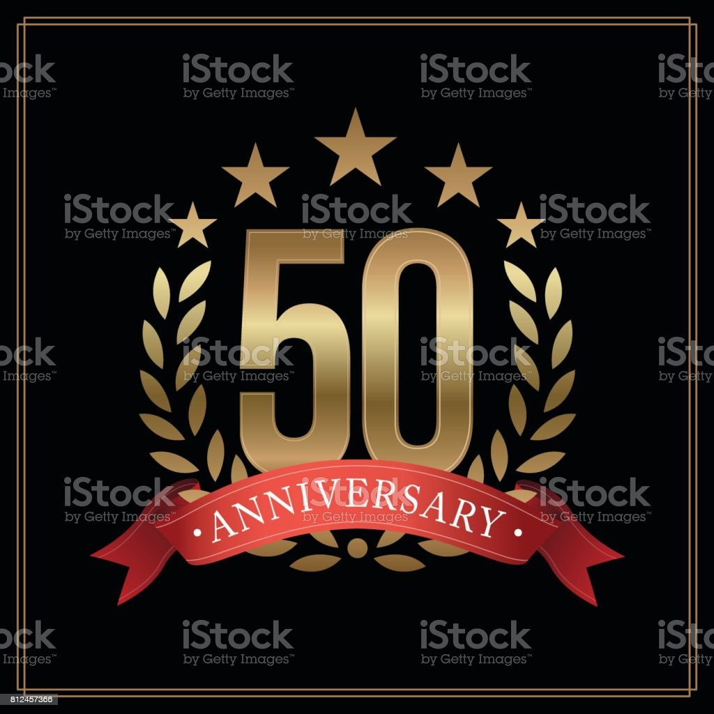 50 years golden anniversary icon, with star, red ribbon, and  laurel wreath isolated on black background, vector design vector art illustration