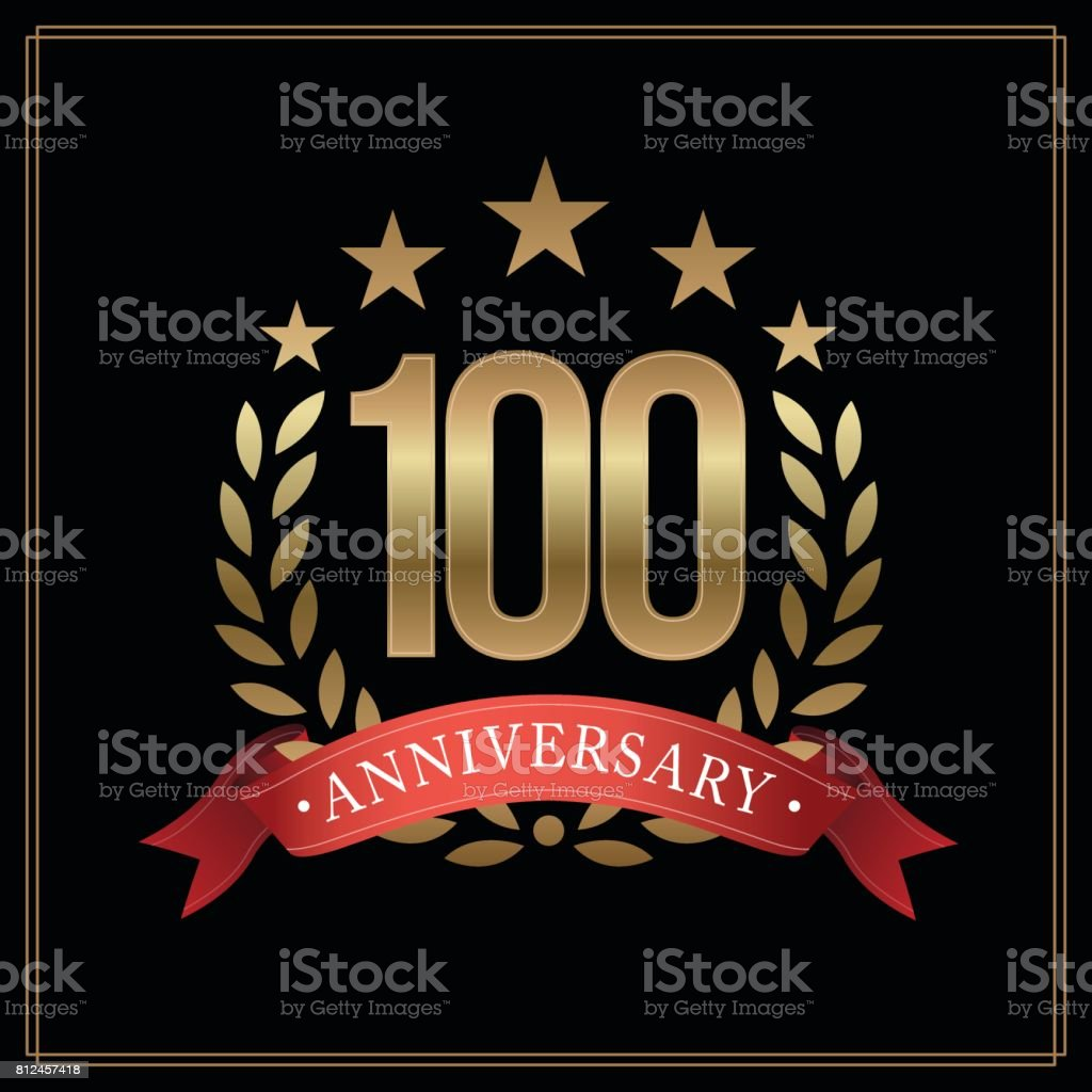 100 years golden anniversary icon, with star, red ribbon, and  laurel wreath isolated on black background, vector design vector art illustration