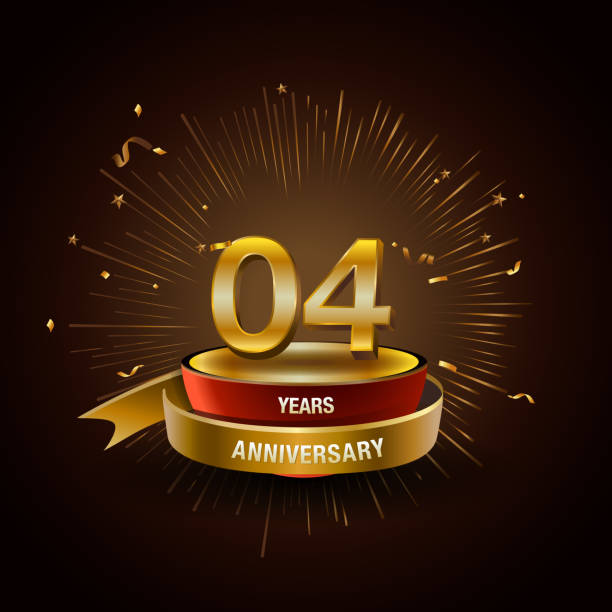 4 years golden anniversary logo celebration with firework and ribbon. vector art illustration