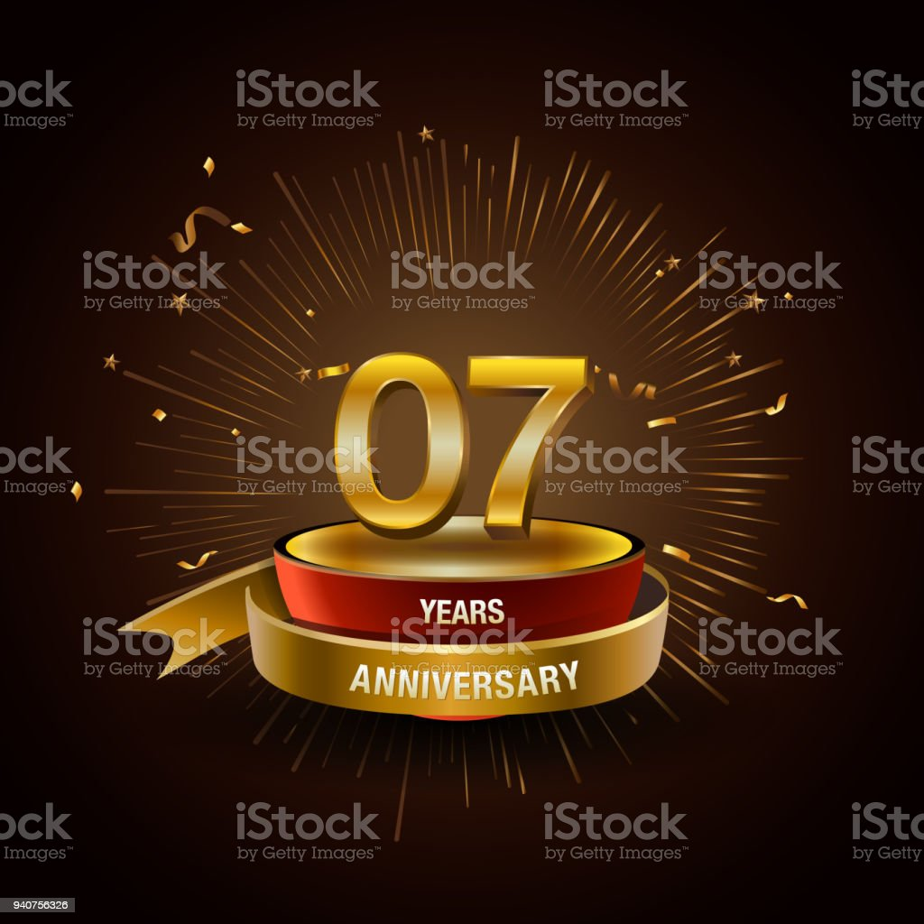 7 years golden anniversary logo celebration with firework and ribbon. vector art illustration