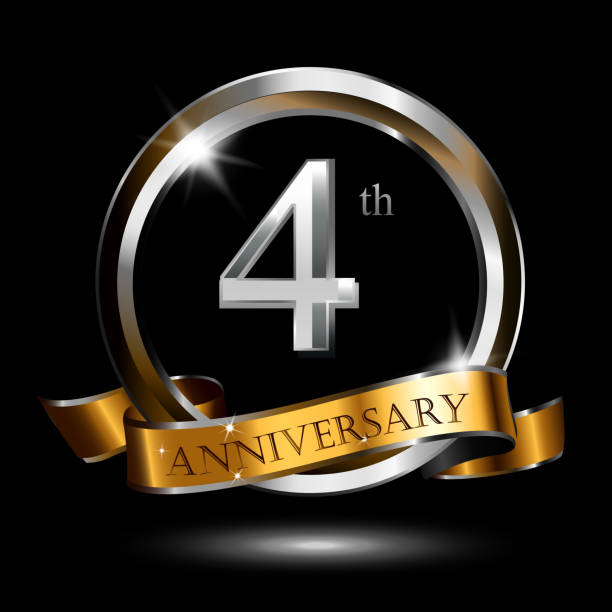 4 years golden silver anniversary icon celebration with ring and ribbon. vector art illustration