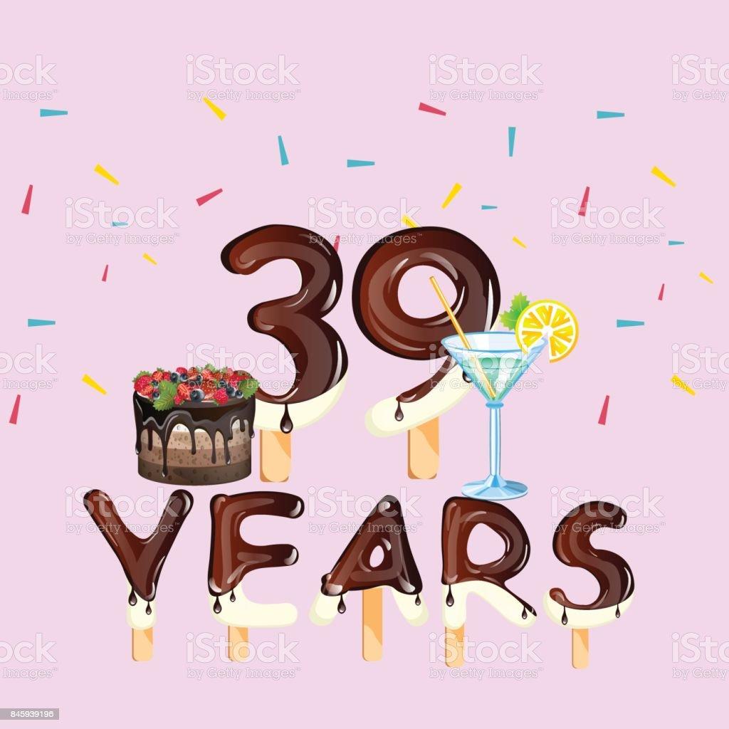 39 Jahregrußkarte Herzlichen Glückwunsch Zum Geburtstag Stock Vektor