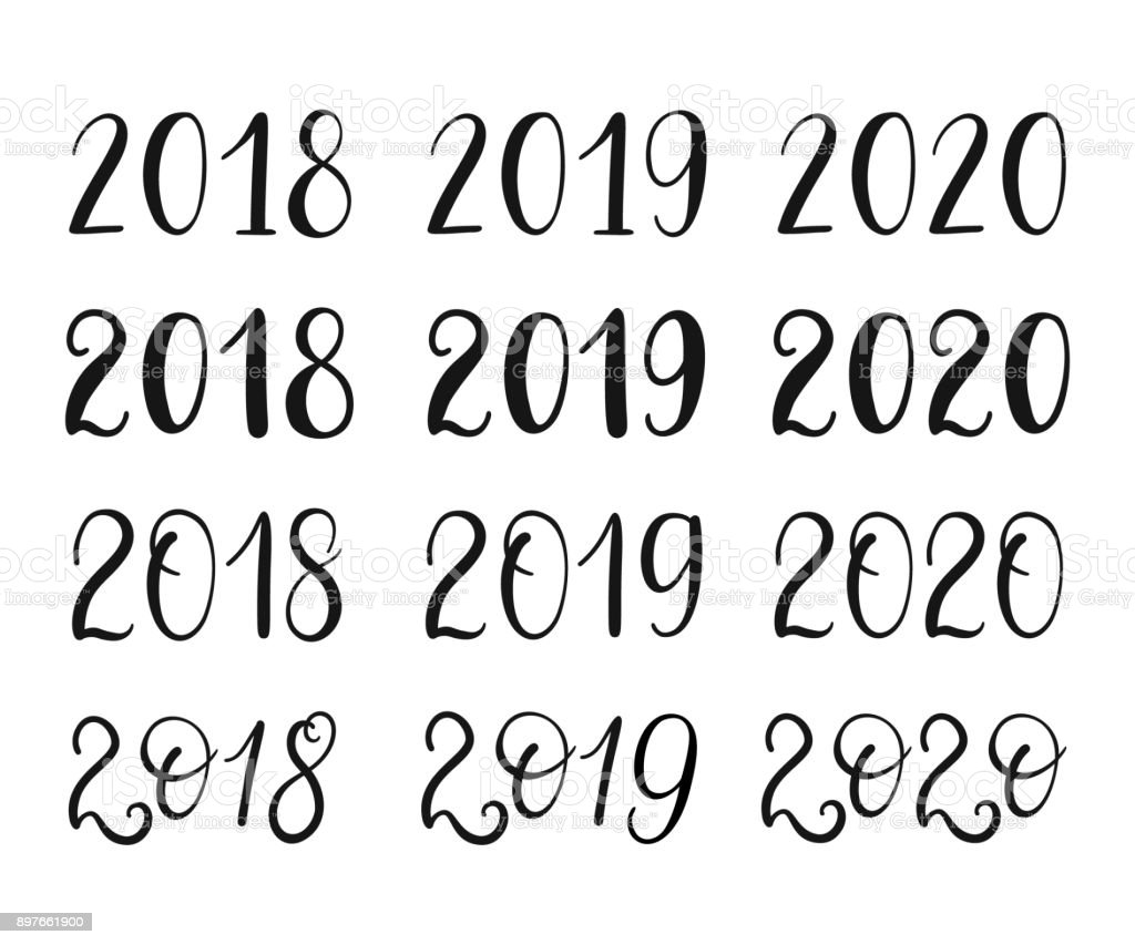 2018 2019 2020 years hand lettering set for greeting cards vector 2018 2019 2020 years hand lettering set for greeting cards vector winter holiday kristyandbryce Images