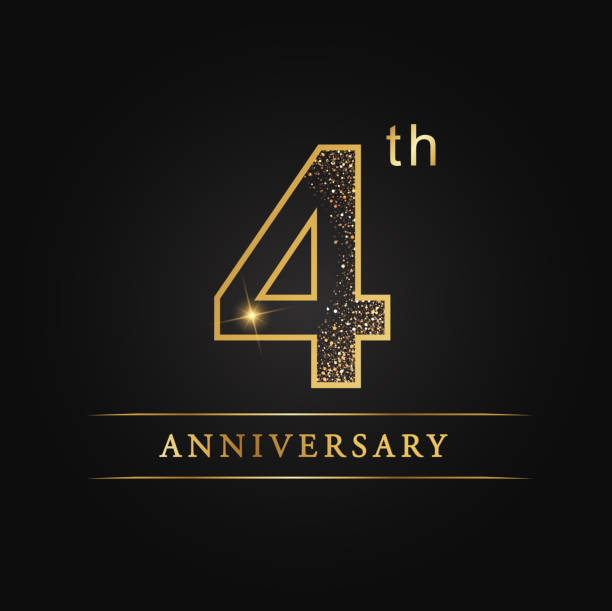 4 years luxury anniversary vector art illustration