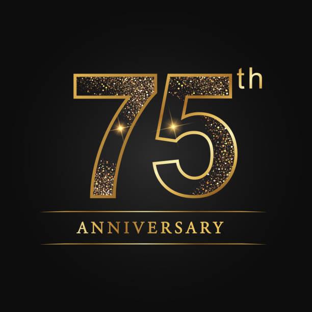 75 years luxury anniversary vector art illustration
