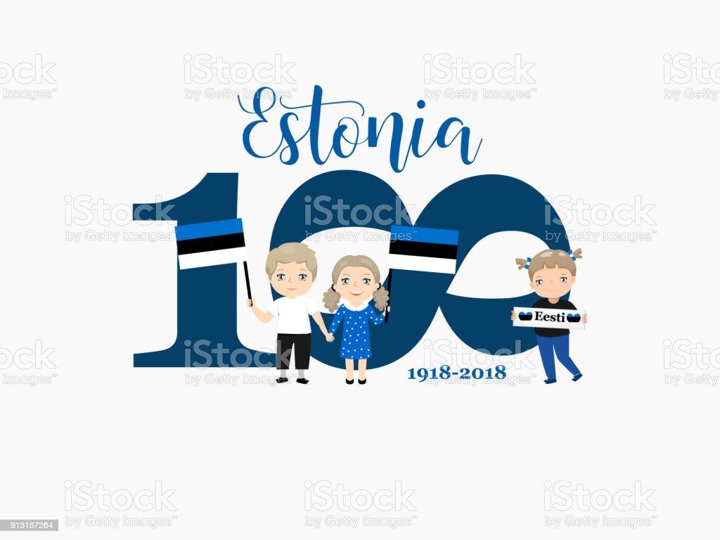 100 years of Estonia. A welcome card with children with flags - Grafika wektorowa royalty-free (Abstrakcja)