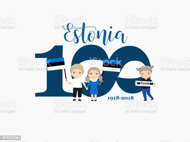 100 Years Of Estonia A Welcome Card With Children With Flags - Stockowe grafiki wektorowe i więcej obrazów Abstrakcja