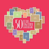 50 years of wedding or marriage vector icon, illustration