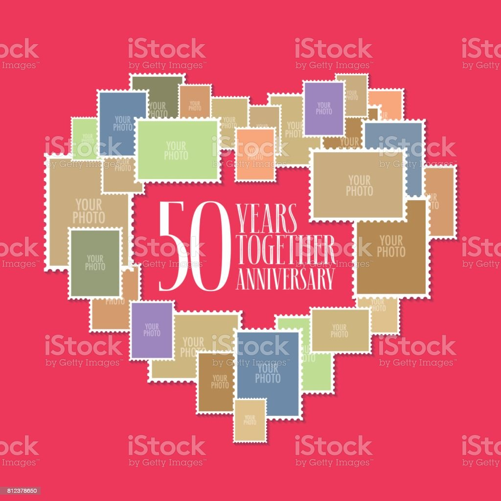 50 years of wedding or marriage vector icon, illustration vector art illustration