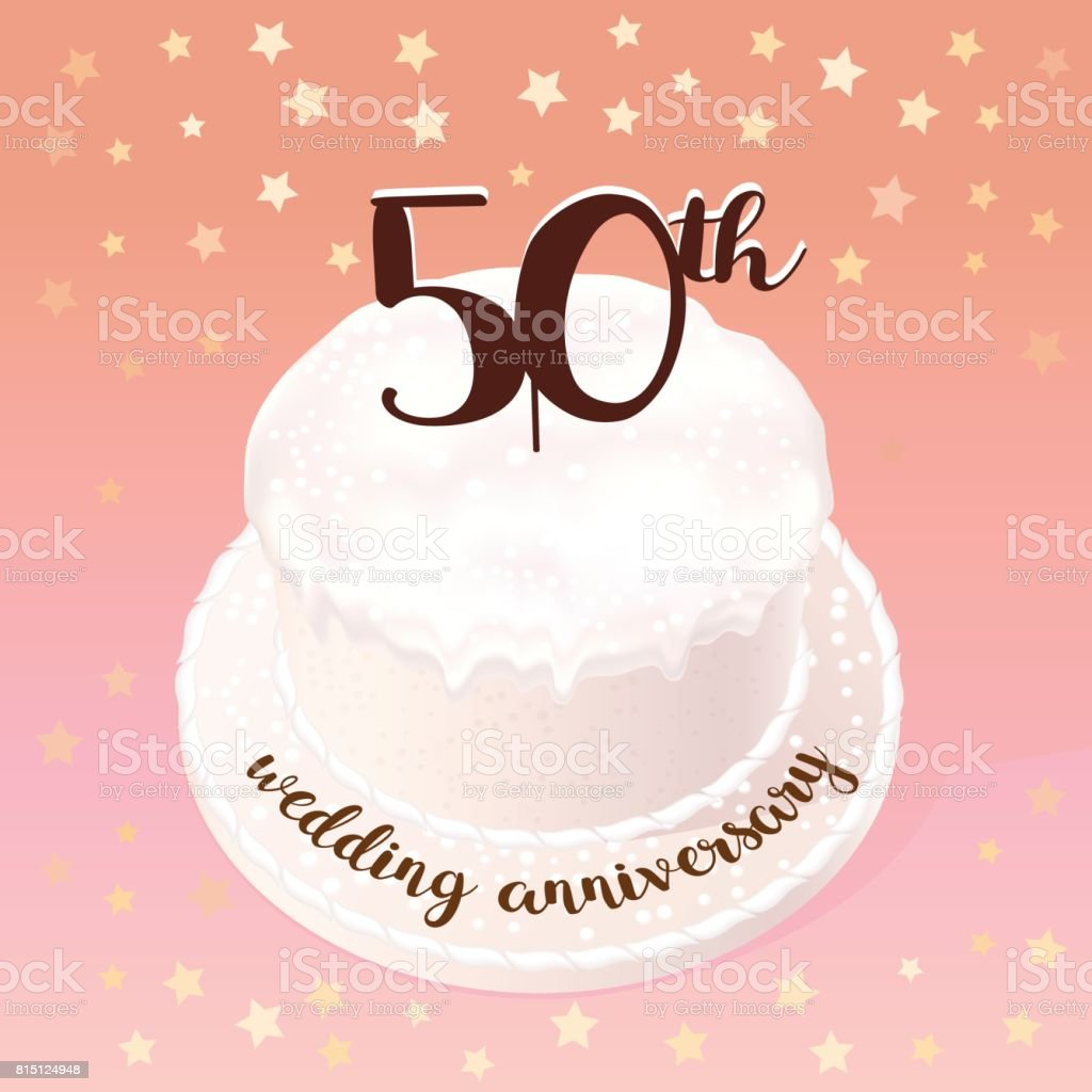 50 years of wedding or marriage vector icon illustration stock
