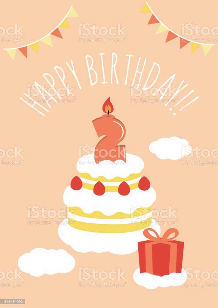 2 Years Old Birthday Card Illustration Royalty Free Stock