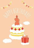 2 years old birthday card illustration