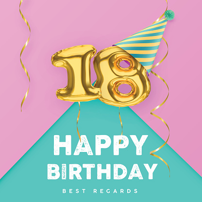 18 years old happy birthday pink girly vector banner