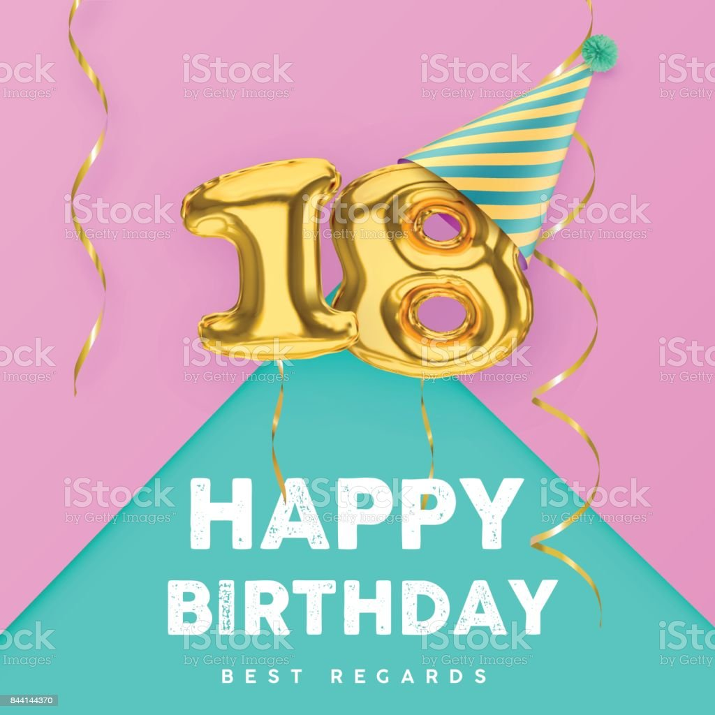 18 years old happy birthday pink girly vector banner vector art illustration