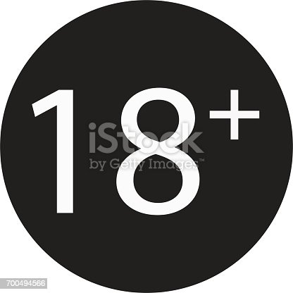 istock 18 years old sign. Adults content only icon. 700494566