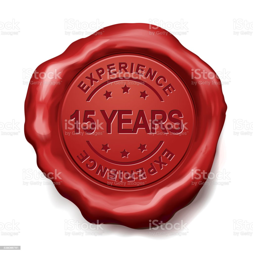 15 years red wax seal vector art illustration