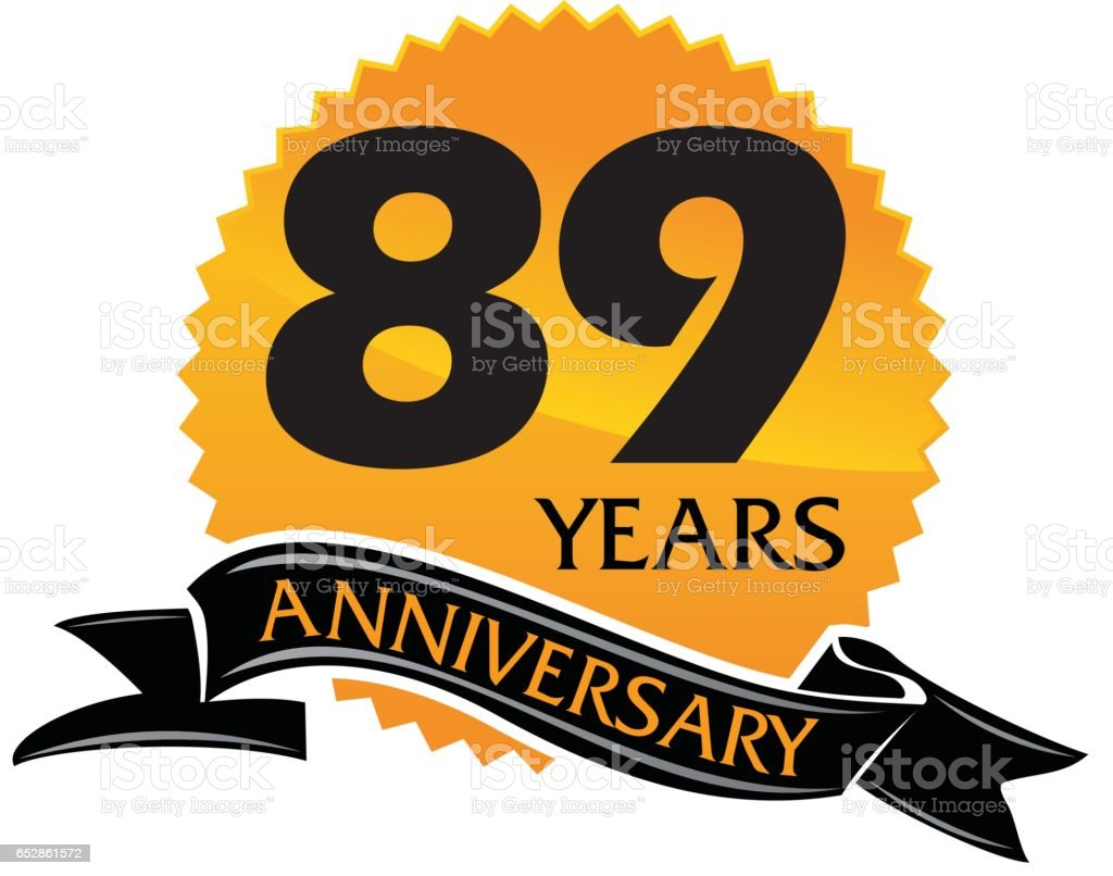 89 Years Ribbon Anniversary vector art illustration