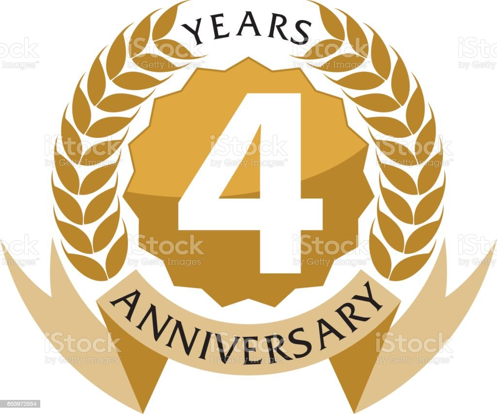 4 Years  Ribbon Anniversary vector art illustration