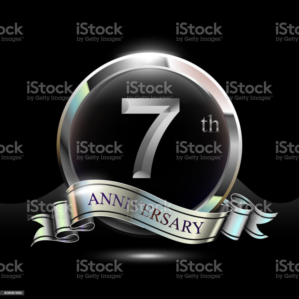7 years silver anniversary design celebration with ring and ribbon. vector art illustration
