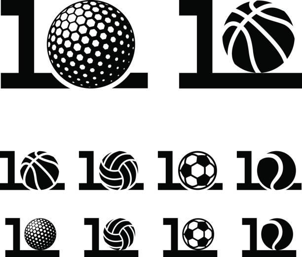10 years sport ball anniversary vector 10 years sport ball anniversary vector anniversary silhouettes stock illustrations