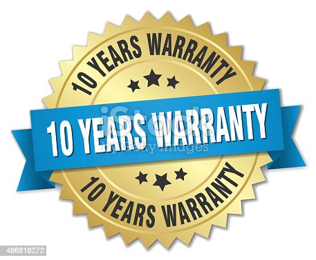 10 years warranty 3d gold badge with blue ribbon