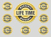 Years warranty labels and guarantee seals