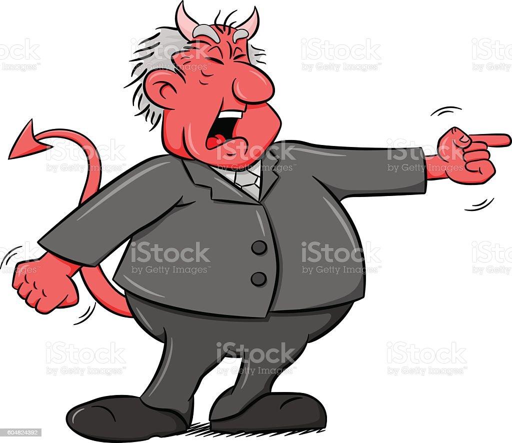 yelling cartoon devil boss vector art illustration