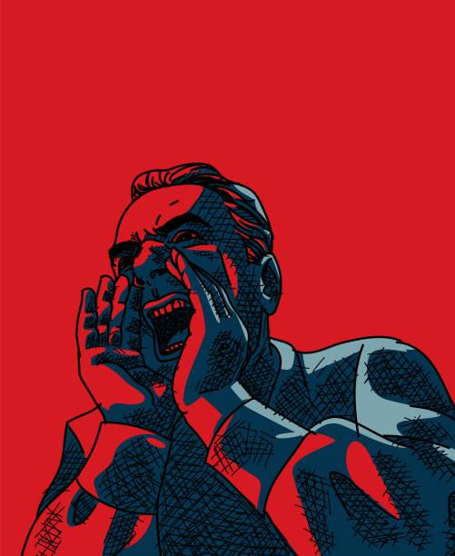 illustrazioni stock, clip art, cartoni animati e icone di tendenza di yelling man vector - furioso