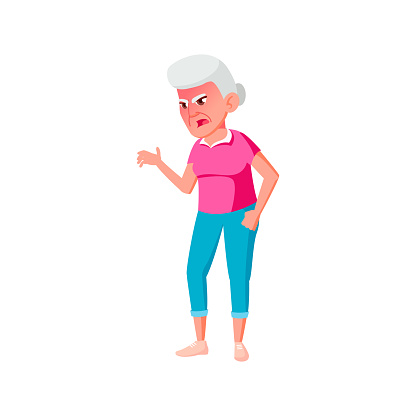 yelling old woman screaming at friends in retirement home cartoon vector